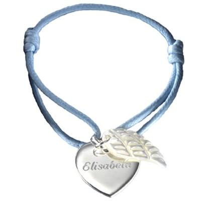 Bracelet cordon Coeur d'ange (argent 925° et nacre)  par Petits trésors