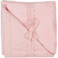 Couverture en polaire Minky Luxe rose à pois dorés (70 x 100 cm)