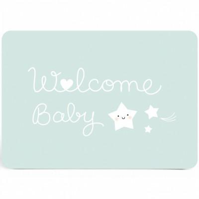 Carte Welcome baby bleu  par Zü