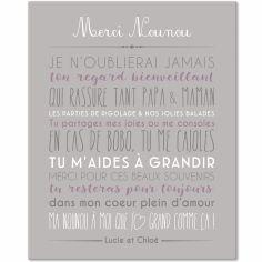 Tableau Merci Nounou personnalisable gris clair (33 x 41 cm)