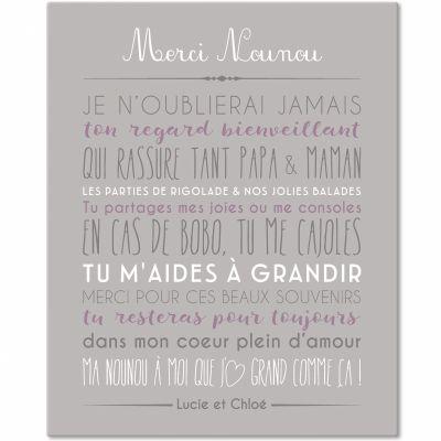 Tableau Merci Nounou personnalisable gris clair (33 x 41 cm)  par Mes Mots Déco