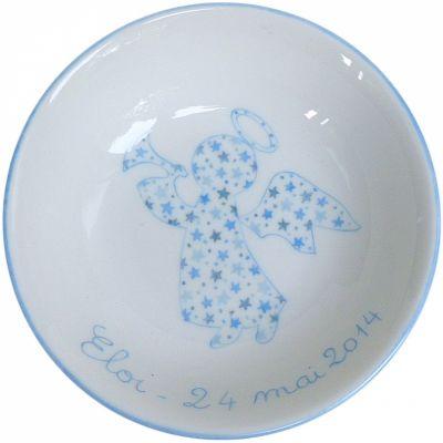 Assiette creuse Ange étoiles bleu (personnalisable)  par Laetitia Socirat