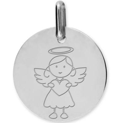 Médaille Ange fille personnalisable (or blanc 375°)  par Lucas Lucor