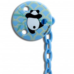 Attache sucette ronde Panda bleu