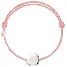 Bracelet cordon Coeur et perle rose poudré (or blanc 750°)