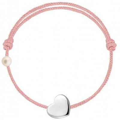 Bracelet cordon Coeur et perle rose poudré (or blanc 750°)  par Claverin