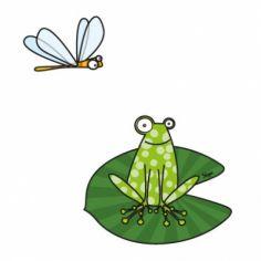 Stickers grenouille sur nénuphar et libellule