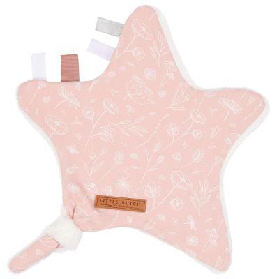 Doudou attache sucette étoile Wild Flowers pink  par Little Dutch
