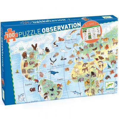 Puzzle d'observation Animaux du monde (100 pièces)  par Djeco
