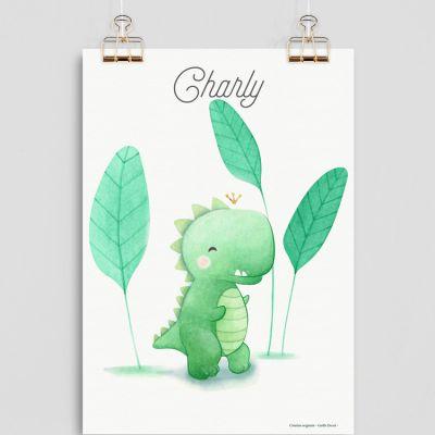 Affiche A4 Dinosaure (personnalisable)  par Gaëlle Duval