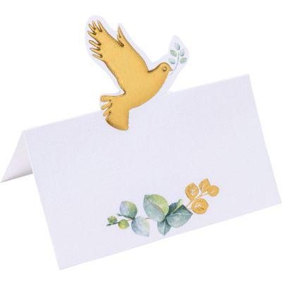 Lot de 10 marque-places Colombe dorée Jour de communion  par Arty Fêtes Factory