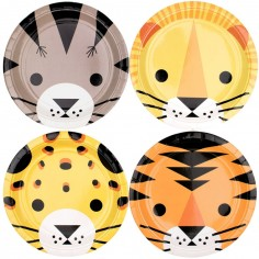 Lot de 8 assiettes en carton félin The Eye of the Tiger