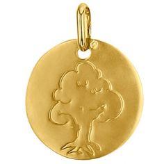 Médaille ronde Arbre de vie 16 mm (or jaune 750°)
