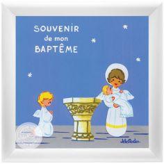Tableau Souvenir de baptême bleu personnalisable (15 x 15 cm)