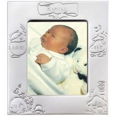 Cadre de naissance métal argenté (personnalisable)