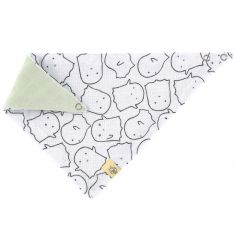 Bavoir bandana en mousseline de coton Little Spookies olive