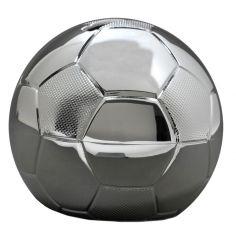 Petite tirelire ballon de football personnalisable (métal argenté)