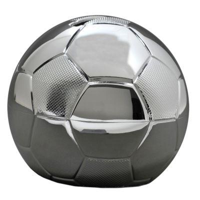 Petite tirelire ballon de football personnalisable (métal argenté)  par Daniel Crégut