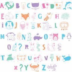 Assortiment de lettres pour lightbox ABC pastel