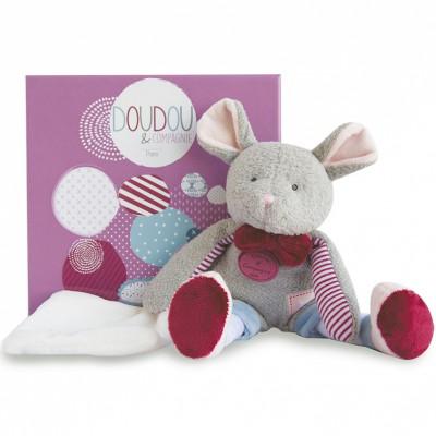Peluche avec doudou Les Ptitous souris (22 cm) Doudou et Compagnie