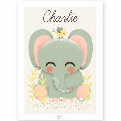 Affiche A4 Les Animignons l'éléphant (personnalisable)