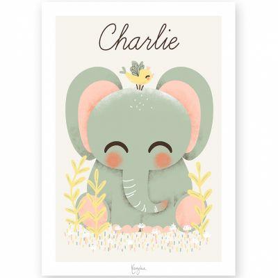 Affiche A4 Les Animignons l'éléphant (personnalisable)  par Kanzilue