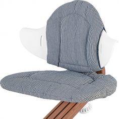 Coussin réversible pour chaise haute évolutive NOMI Chambray et rayures