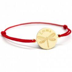 Bracelet cordon Libellule personnalisable (plaqué or)