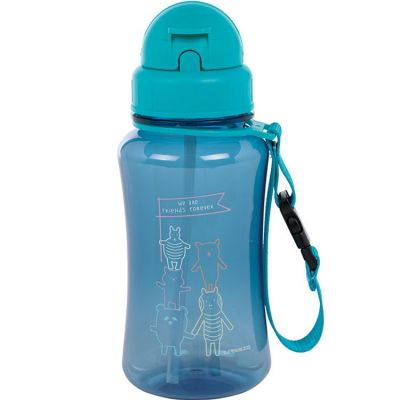 Gourde en plastique About Friends bleu (350 ml)  par Lässig