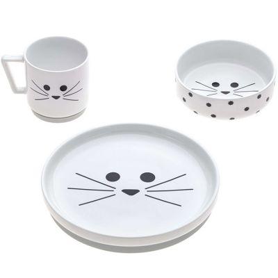 Coffret repas en porcelaine chat Little Chums (3 pièces)  par Lässig