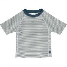 Tee-shirt anti-UV manches courtes rayé col marine (12 mois)