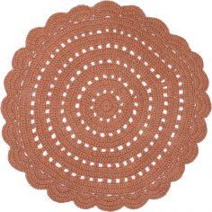 Tapis lavable rond Alma crochet ambre lavable en machine (120 cm)