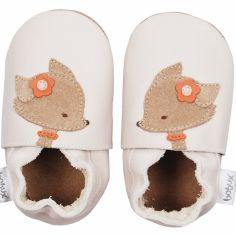 Chaussons en cuir Soft soles renard ecru (9-15 mois)