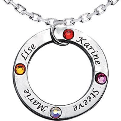 Pendentif anneau avec Swarovski (argent 925°)  par Louis de l'Ange