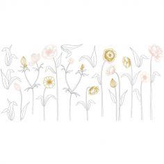 Grand sticker  grandes fleurs sur tige (106 x 52 cm)