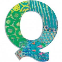 Lettre Q en bois Paon