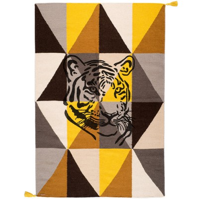 tapis rectangulaire circus tigre multicolor gris et jaune. Black Bedroom Furniture Sets. Home Design Ideas