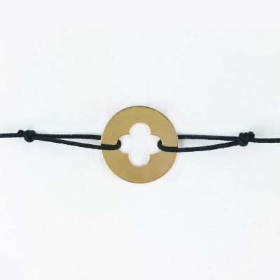Bracelet cordon bébé médaille Signes Croix Romane 16 mm (or jaune 750°) Maison La Couronne