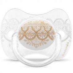 Sucette anatomique réversible Couture Ethnic blanc et doré en silicone (0-4 mois)