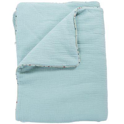 Couverture coton bleue Les jolis trop beaux (90 x 69 cm)  par Moulin Roty
