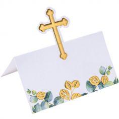 Lot de 10 marque-places Croix dorée