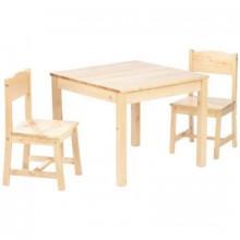 ensemble table et 2 chaises enfant en bois naturel. Black Bedroom Furniture Sets. Home Design Ideas