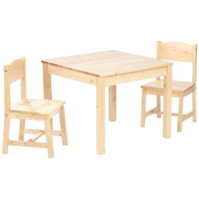 Ensemble table et 2 chaises enfant en bois naturel for Ensemble table chaise bois