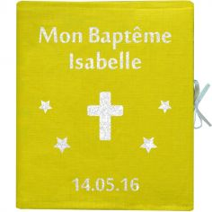 Album photo baptême personnalisable jaune (126 pages)