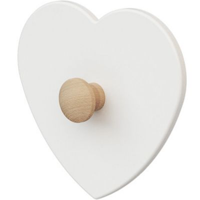 Porte-manteau mural coeur en bois de hêtre brut Essentiel blanc  par AT4