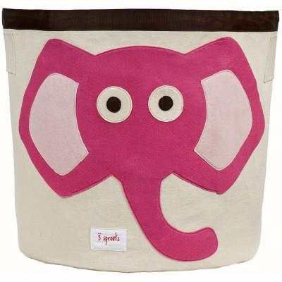 Sac à jouets Eléphant rose  par 3 sprouts