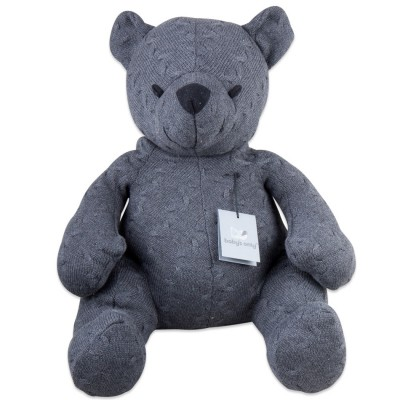 Peluche ourson Cable Uni gris anthracite (55 cm) Baby's Only