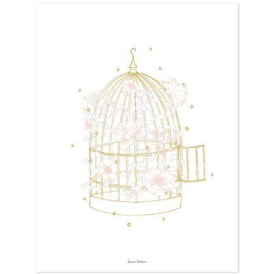 Affiche cage fleurie (30 x 40 cm)  par Lilipinso