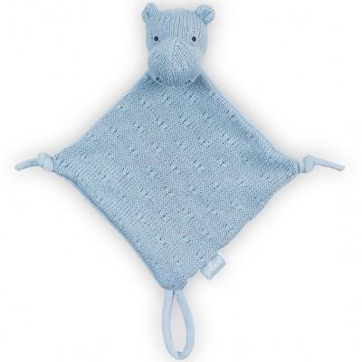 Doudou attache sucette hippopotame tricot bleu Jollein