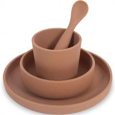 Coffret repas en silicone caramel